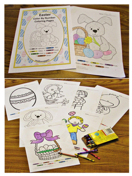 Easter Color by Number Coloring Pages Distance Learning Packet Special Education