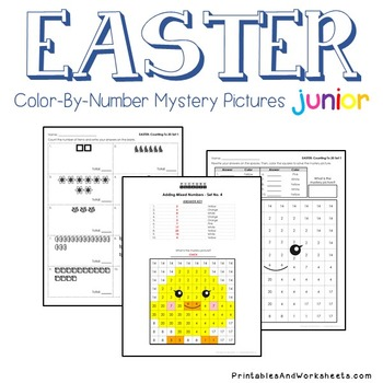 Easter Counting/Greater Than/Less Than - Color-By-Number Mystery Picture (K-2)