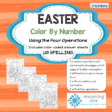 Easter Color By Number - Four Operations (US Spelling)