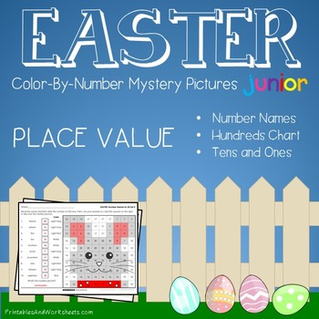 Color-By-Number Place Value, Easter Place Value Mystery Pictures (K-2)