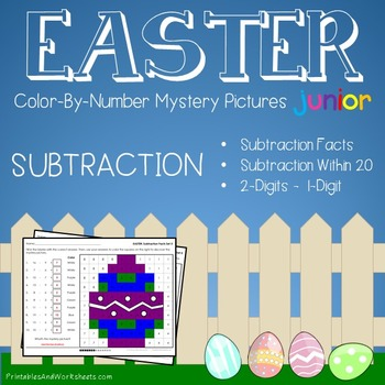 Color-By-Number Subtraction, Easter Subtraction Mystery Pictures (K-2)