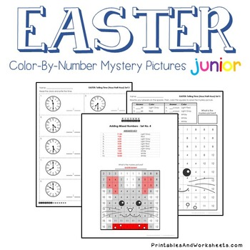 Easter Telling Time the Hour / Telling Time to the Half Hour, Mystery Pictures