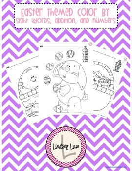 Easter Color By Sight Words, Addition, and Numbers