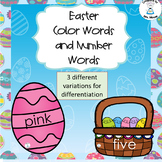 Easter Color Words and Number Words Printable