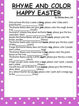 Easter Color a  Rhyme