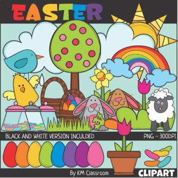 Easter Color and Line Art ClipArt
