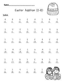 Easter Color by Addition and Subtraction