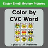 Easter: Color by CVC Word - Easter Emoji Mystery Pictures