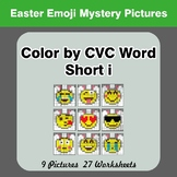 Easter: Color by CVC Word | Short i - Easter Emoji Mystery Pictures