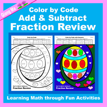 Easter Color by Code: Add & Subtract Fraction Review