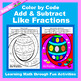 Easter Color by Code: Add & Subtract Fractions 5 in 1