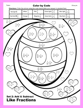 Easter Color by Code: Add & Subtract Like Fractions