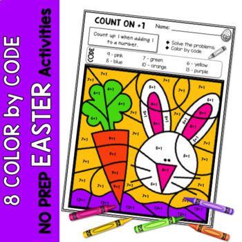 Easter | Color-by-Code Addition | Color by Number