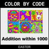 Easter Color by Code - Addition within 1000