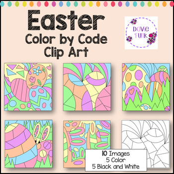 Easter Color by Code Clip Art Abstract Designs