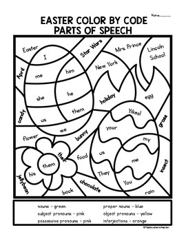 Easter Color by Code Parts of Speech
