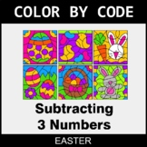 Easter Color by Code - Subtracting 3 Numbers