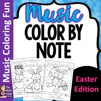 Easter Color by Music Symbol-set of 8 color sheets for Music Class