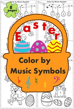 Easter: Color by Music Symbols.