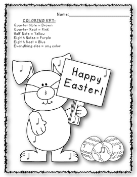 Easter Color by Note/Rhythms - Review, Coloring Sheet