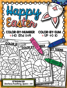 Easter Color-by-Number 1-10 & 11-19 and Color-by-Sum (up to 10)
