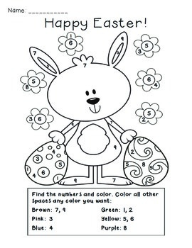 easter color by number activity by the busy class tpt. Black Bedroom Furniture Sets. Home Design Ideas