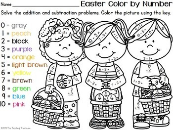 Easter Color by Number, Addition & Subtraction Within 10