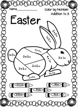 Easter Color by Number: Addition (to 5, 10, 20 & 100)!