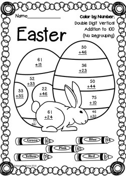 Easter Color by Number: Addition (to 5, 10, 20 & 100)!   TpT