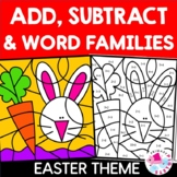 Easter Color by Number BUNDLE: addition, subtraction & word families