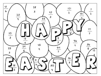 Easter Color by Number: Converting Improper Fractions into Mixed Numbers