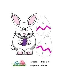 Easter Color by Number Recognition Math Color Recognition Printable Kindergarten