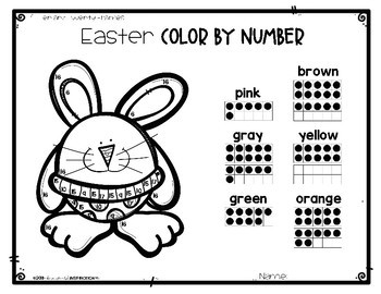 Easter Color by Number by Education and Inspiration