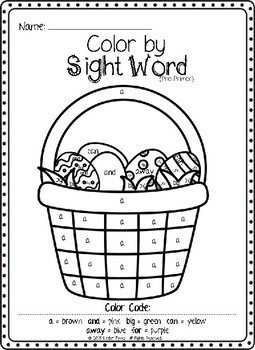 Easter Color by Sight Word Bundle (Pre-primer & Primer)