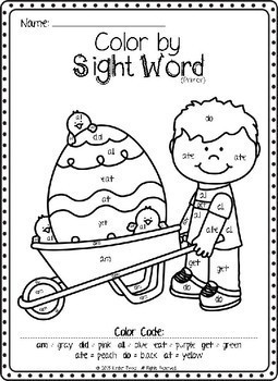 Easter Color by Sight Word (Primer) by Kinder Tykes | TpT