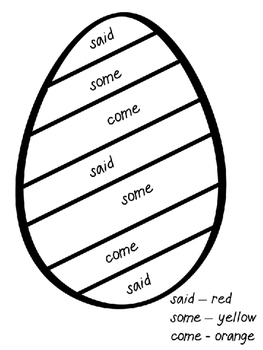 Easter Color by Sight Word or Letter