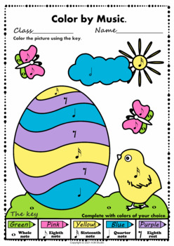 Easter: Color by notes and rests.
