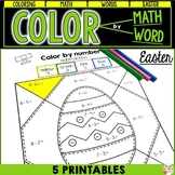 Easter Activity - Color by number - ADDITION - SUBTRACTION and WORD