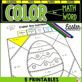 Easter - Color by number - ADDITION - SUBTRACTION and WORD