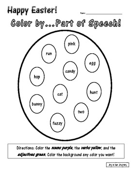 Easter Color by...Parts of Speech!