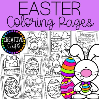 Easter Coloring Pages {Made by Creative Clips Clipart} | TpT