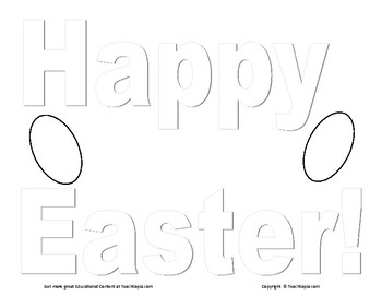 Easter Coloring Page. Easter Coloring Poster  Color Happy Easter and two eggs