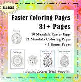 Easter Coloring Pages - 10 Unique Mandala Eggs + 3 BONUS Pages