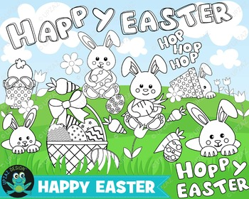 Easter Coloring Pages Digital Stamps, Instant Download, Commercial Use - UZ880B