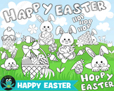 Easter Coloring Pages Digital Stamps, Instant Download, Co