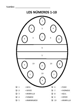 Easter Coloring Pages: Spanish Numbers and Colors