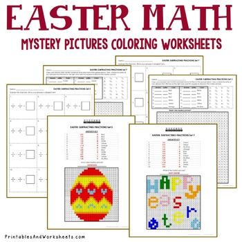 Operations with Fractions, Easter Coloring Mystery Pictures Fractions Worksheets