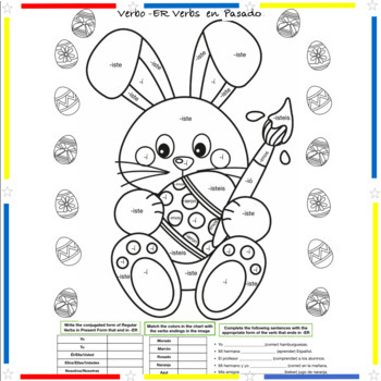Easter Coloring in Spanish - Past and Present of Regular verbs and Verb IR