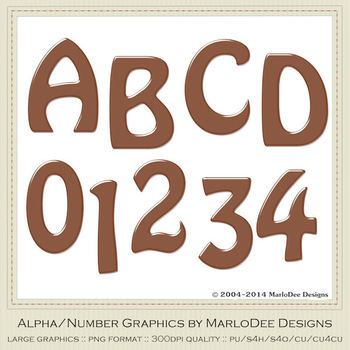 Easter Colors 2011 Candy Brown Alphabet Letter & Number Graphics