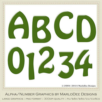 Easter Colors 2011 Candy Green 1 Alphabet Letter & Number Graphics